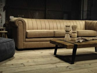 beige chesterfield bank