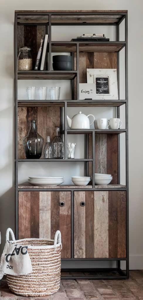 boekenkasten teakhouten boekenkast industriele boekenkast smalle houten boekenkast