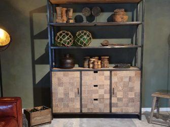 boekenkast oud elmhout