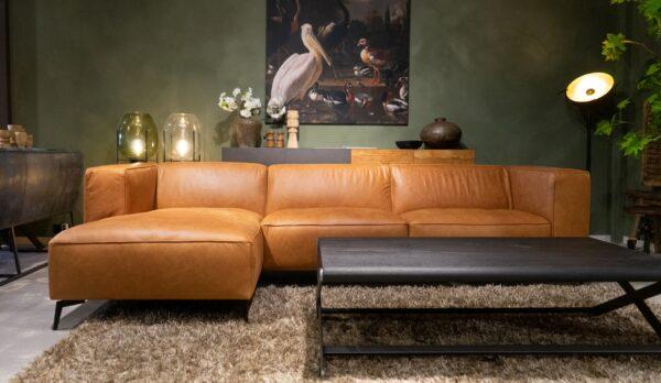 Bank Pertuis - chaise longue arm links en 3 zits element arm rechts uitgevoerd in antigo leer cognac