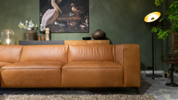 Bank Pertuis - chaise longue arm links en 3 zits element arm rechts uitgevoerd in antigo leer cognac