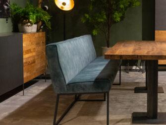 blauwe eetkamerbank