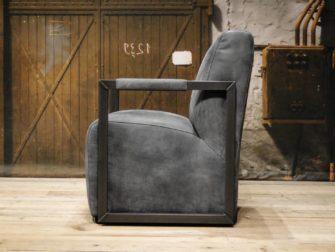 blauwe leren stoel