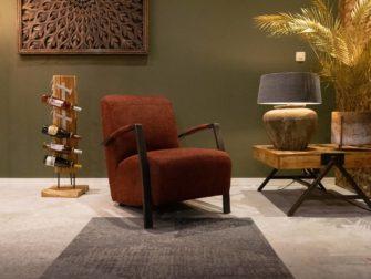 Bruine stoffen fauteuil
