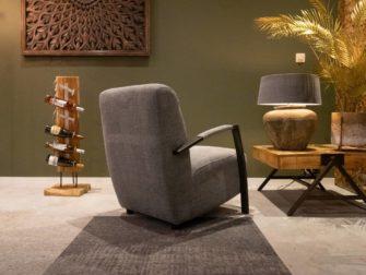 grijze stoffen fauteuil