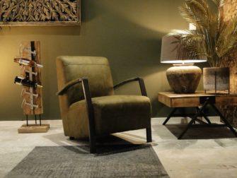 Olijfgroene relaxstoel