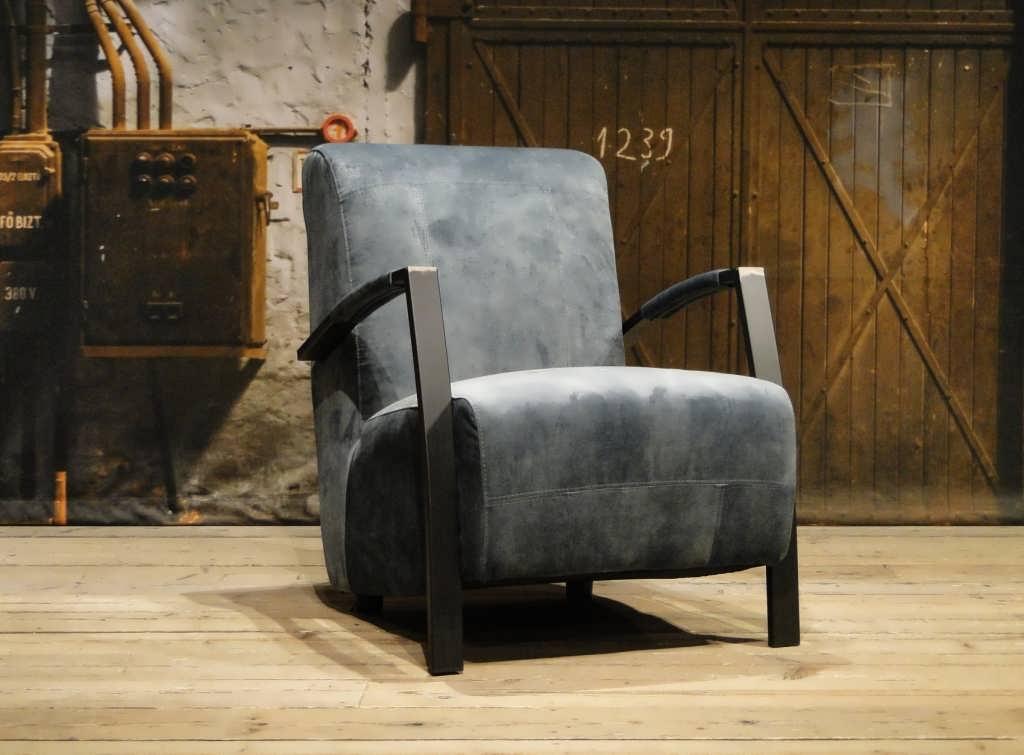 Vintage fauteuil basil in leer en stof robuustetafels.nl
