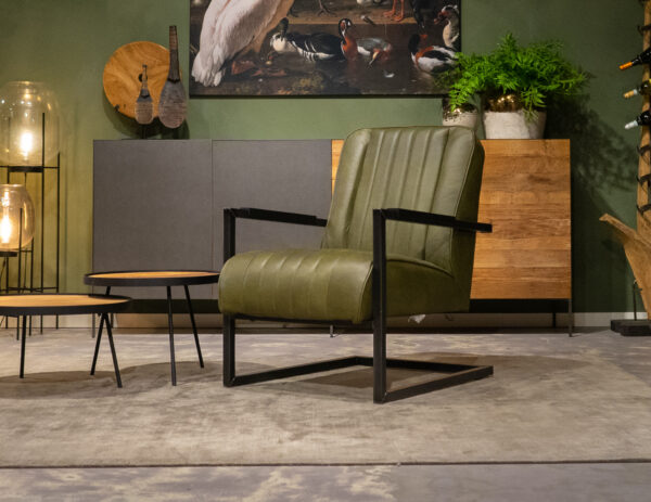 olive leren stoelen