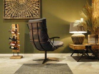 leren blauwe relaxstoel