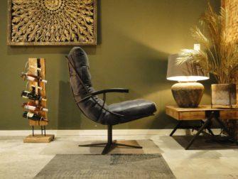 blauw leren fauteuil