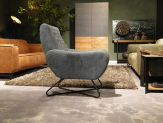 Stoere blauwe relaxfauteuil