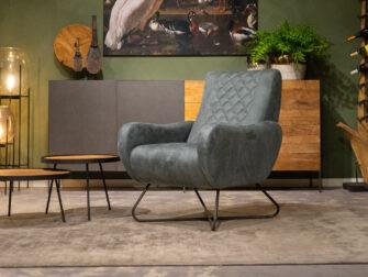 blauwe diepe fauteuil