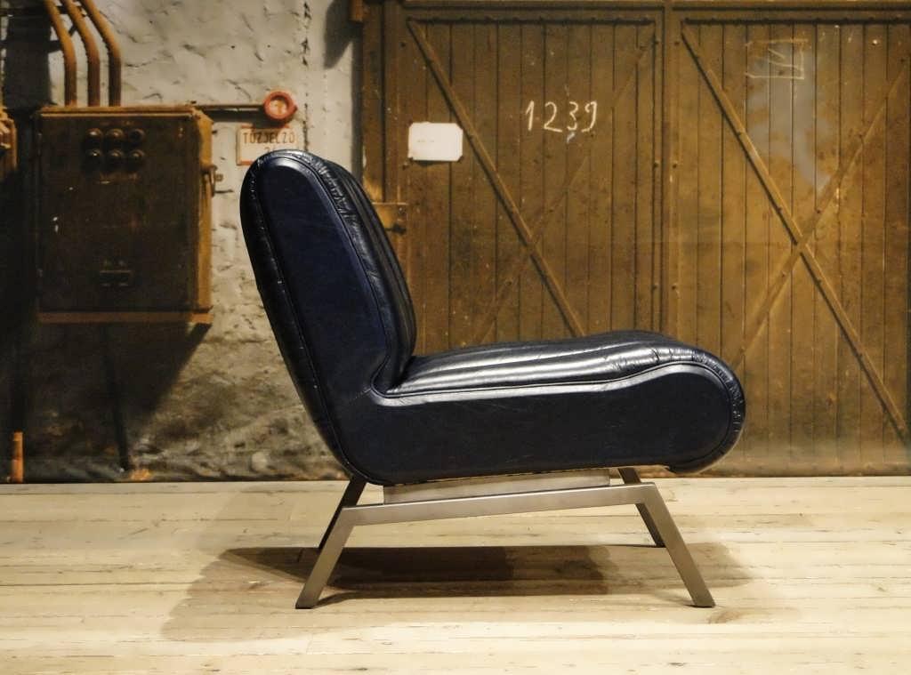 Leren retro fauteuil camaro direct uit voorraad for Eetkamerstoelen blauw leer