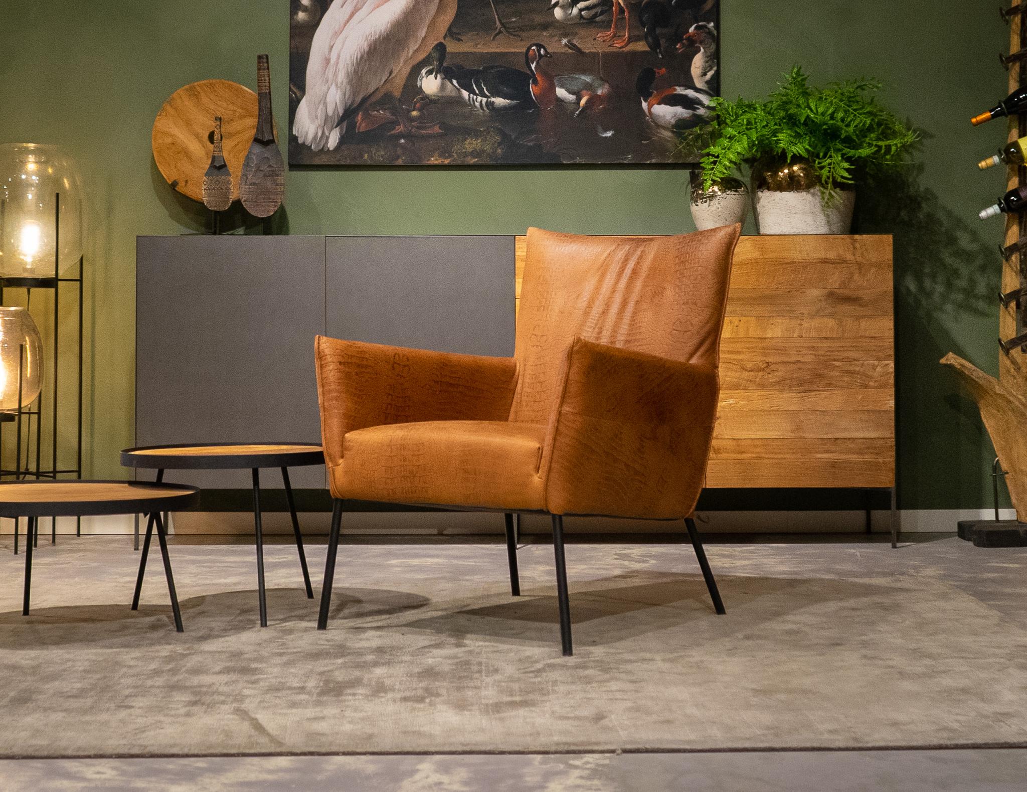 fauteuil industrieel cognac