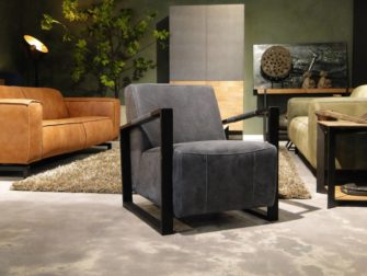 Fauteuil Leer Donkerblauw.Carisio Fauteuil