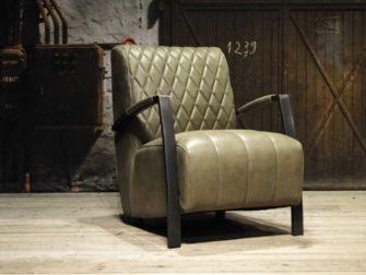 leren fauteuil olijf