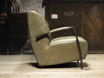 leren fauteuil olive