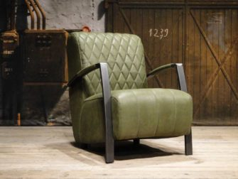 groene leren fauteuil