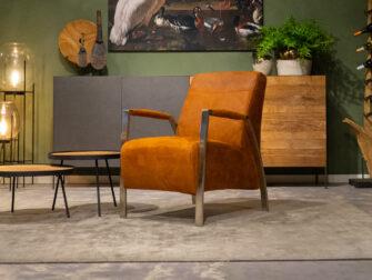industriële fauteuil cognac
