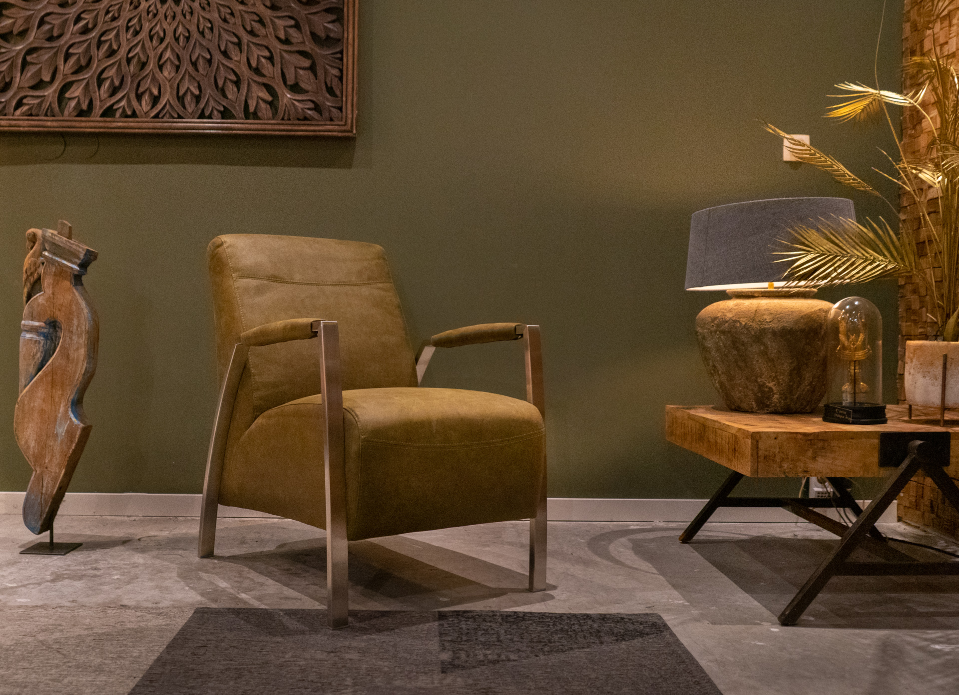 mosgroene fauteuil