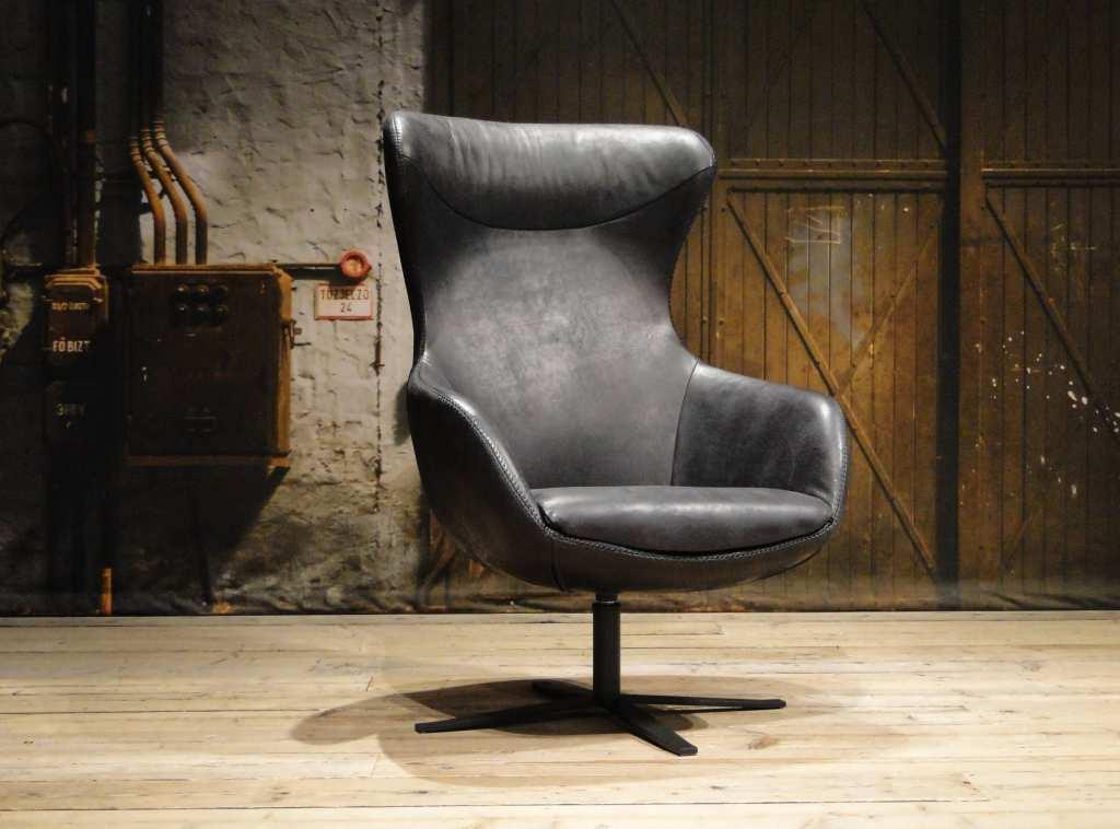 Zwarte Leren Relaxstoel.Getafe Fauteuil