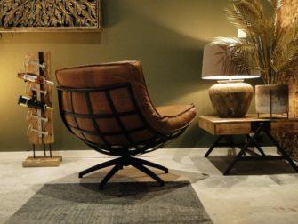 stoere industriële fauteuil in leer