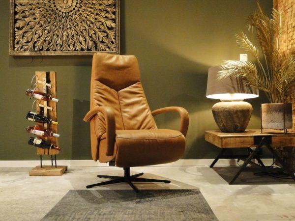 cognac lederen fauteuil