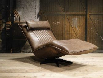 bruin leren relax fauteuil