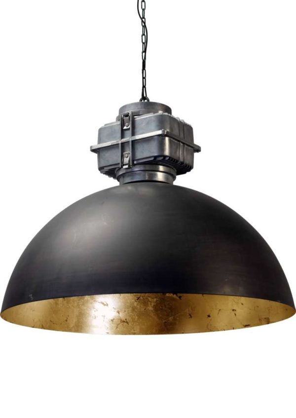 industriele hanglamp gun metal goldleaf