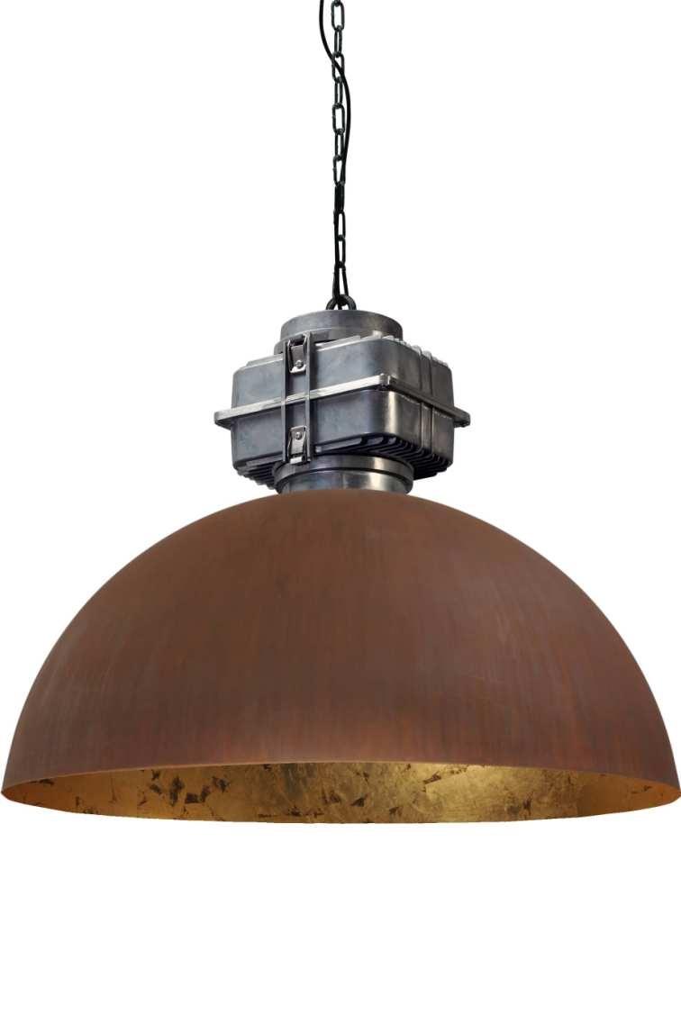 industriele hanglamp roest bladgoud