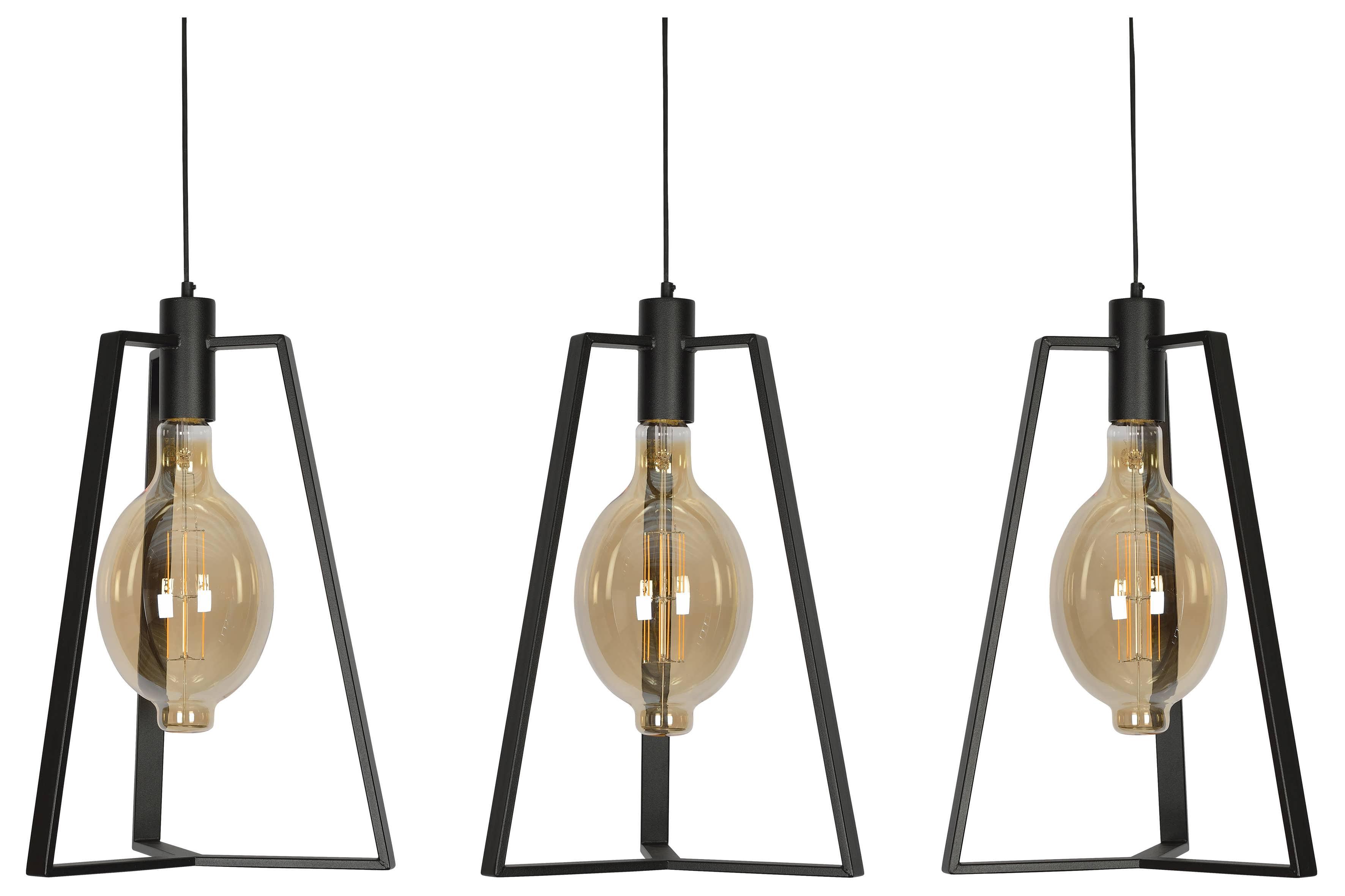 Hanglamp Trevisio 170cm - RAL 9005 zwart - 3x E27-E40