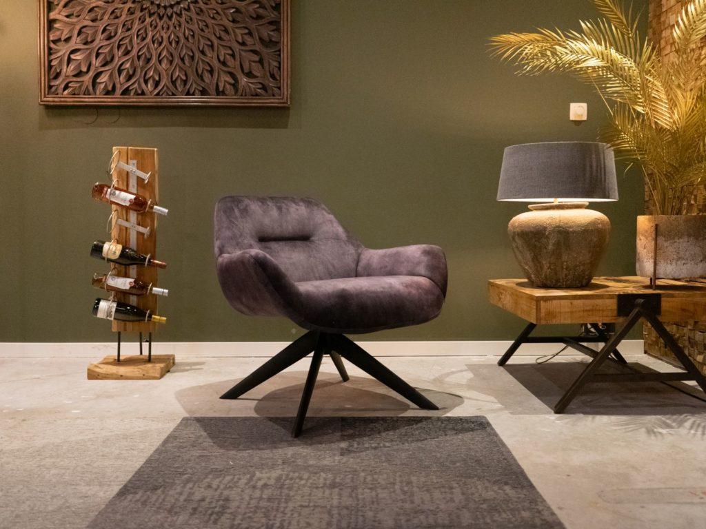 Stoere fauteuil in velvet stof