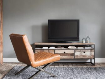 Tv Meubel Wit Met Teak.Tv Meubel Wit Met Teak Blad Meuble Gallery Collection