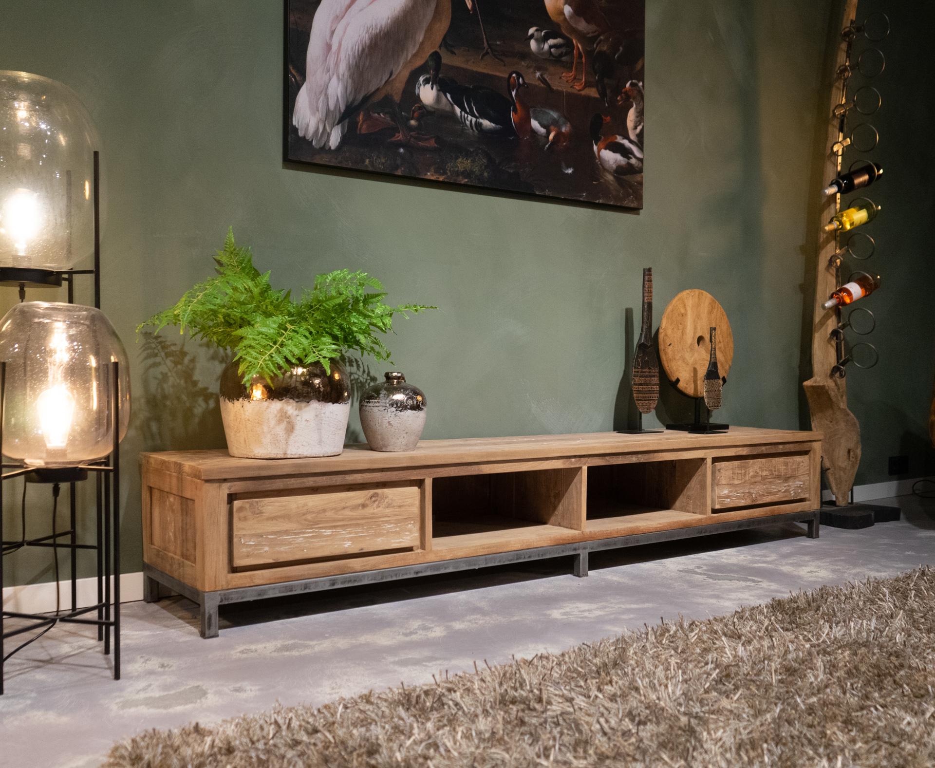lang tv-meubel oud teak