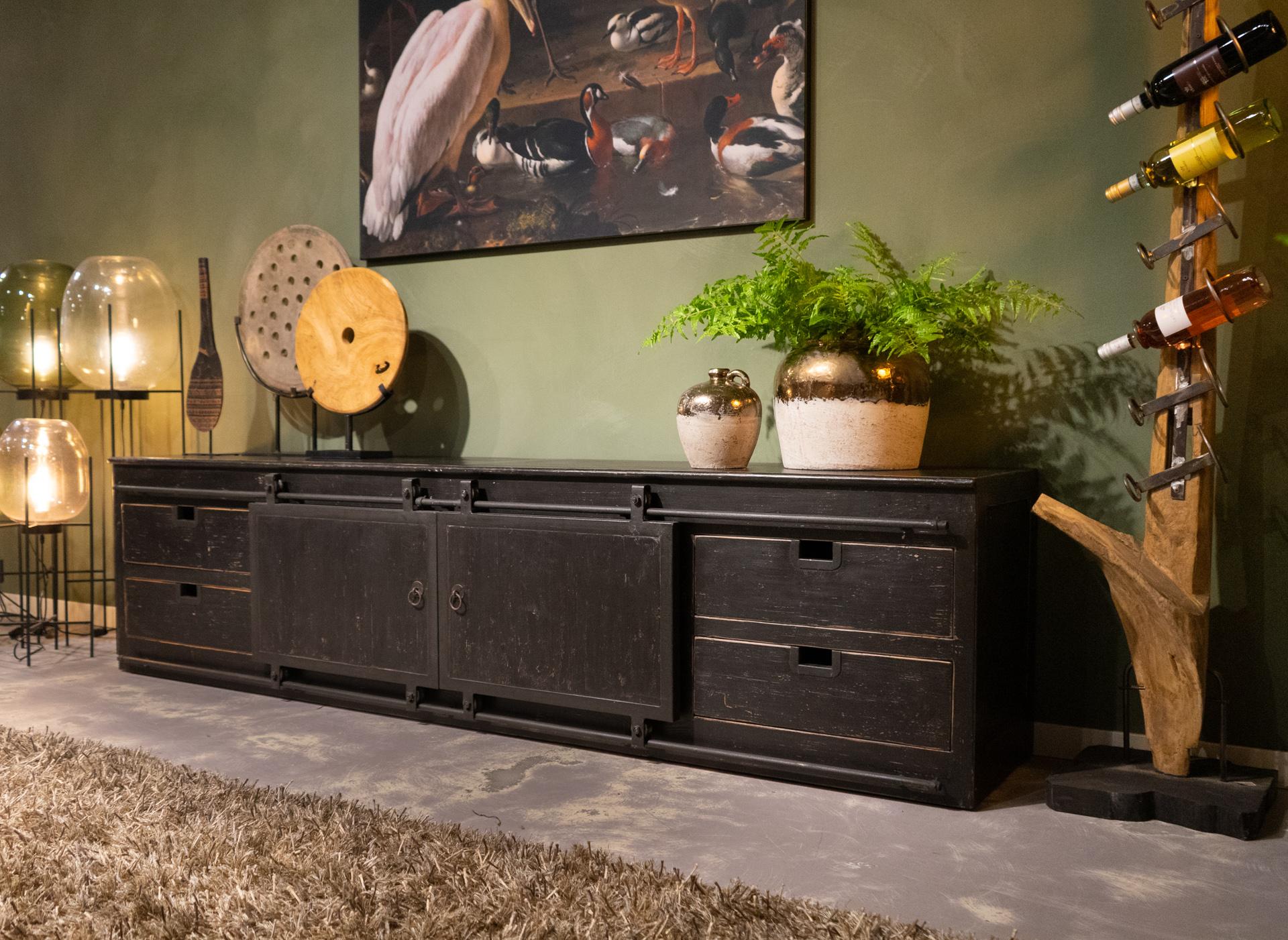 tv-meubl met deuren en laden