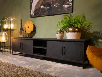 zwart stelen tv meubel
