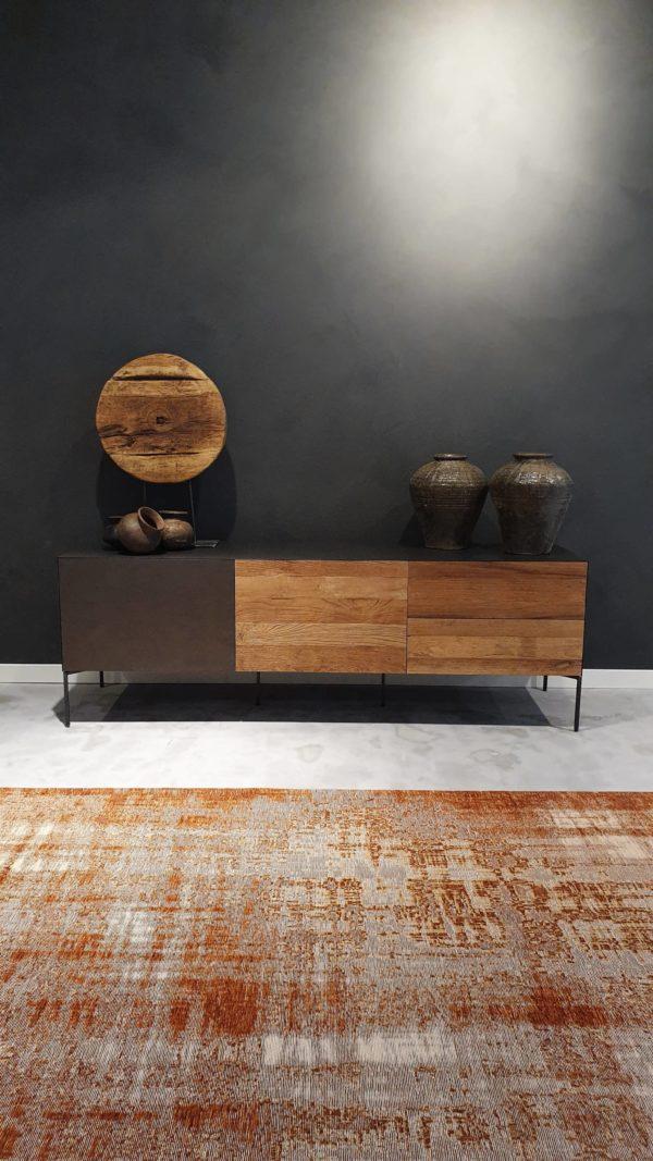 Industrieel tv meubel hout en staal