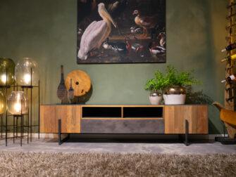 tv dressoir met staal en hout