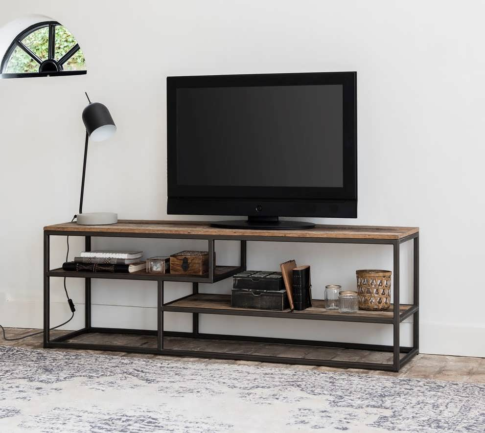 Industrieel tv meubel orly van recycled teak for Tv meubel design
