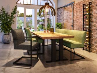 ideale tafel voor een eetkamerbankje
