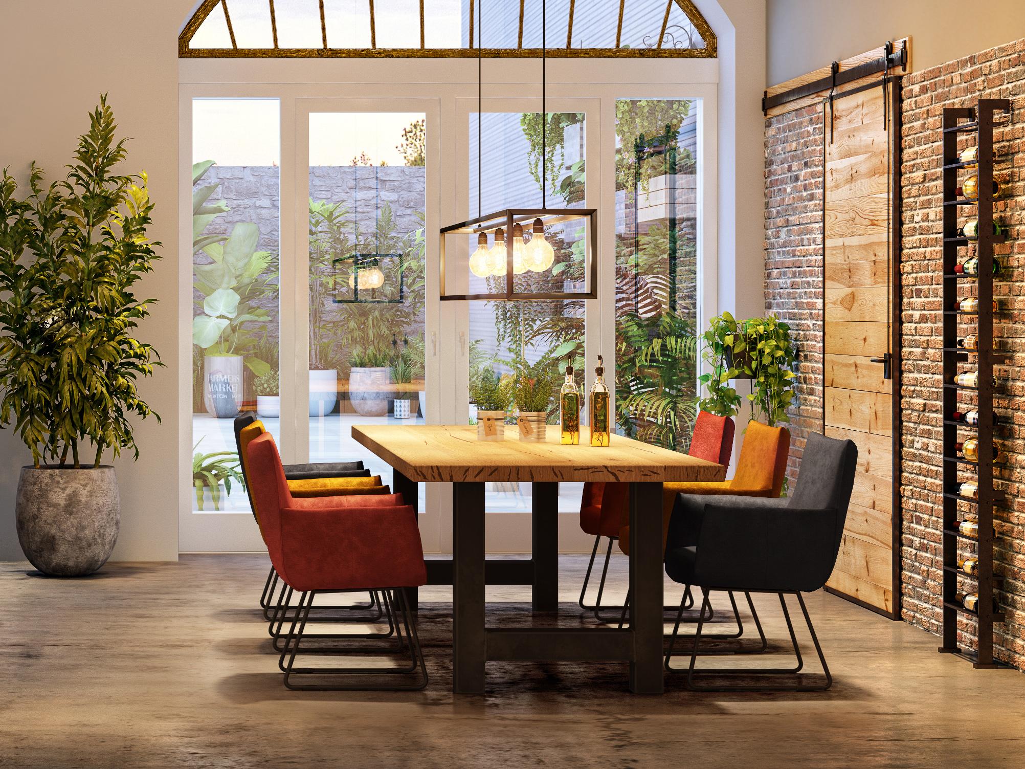 industriele eettafel met velvet stoelen