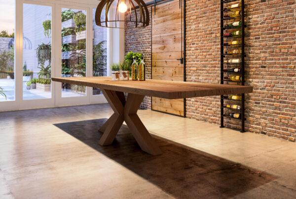 grote tafel houten kruispoot