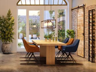 tafel met houten eiken onderstel