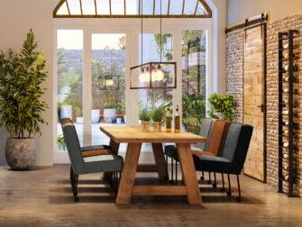 a poot houten eiken tafel