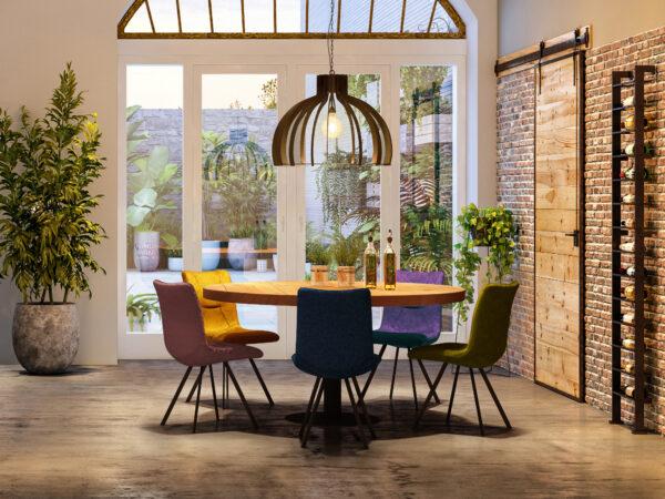 industriele ronde tafel met velvet stoelen