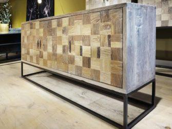 dressoir oud hout stalen frame