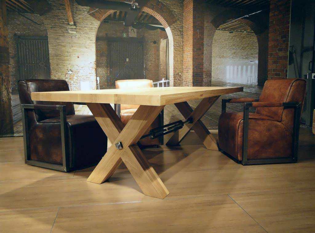 Eiken kruispoot tafel Auxerre
