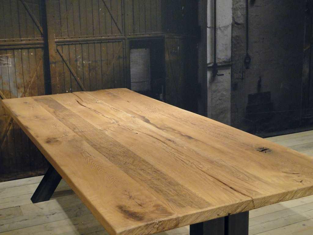 Tafel Opnieuw Lakken : Unieke industriele tafel medici rustiek eiken robuustetafels