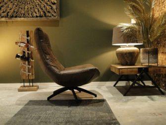 stoere fauteuil in bruin leer