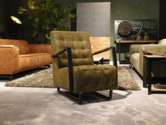 Stoeren groen leren fauteuil armstoel